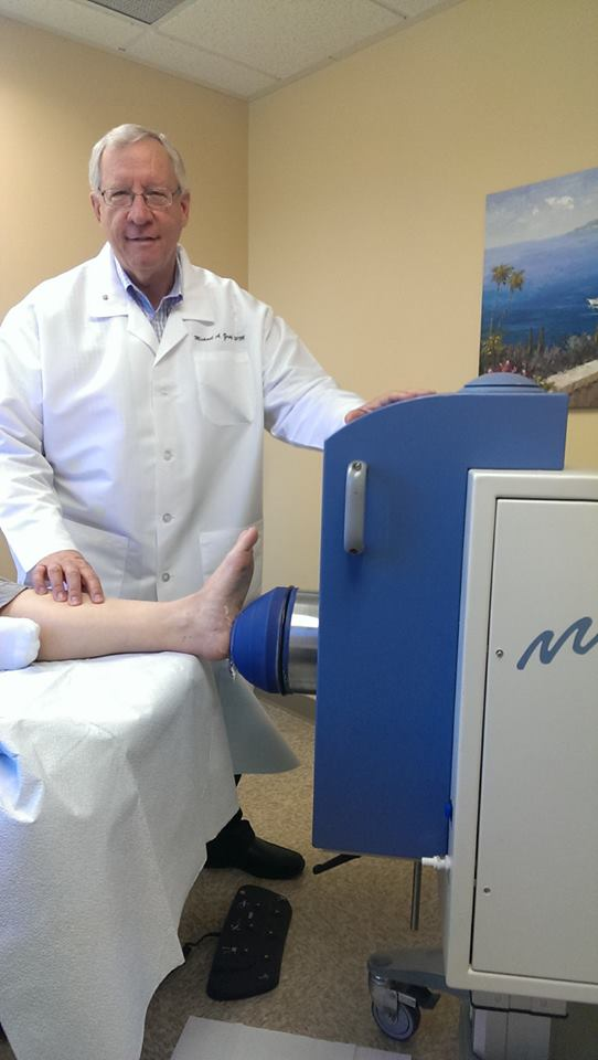 Dr. Zapf performing a high intensity shockwave procedure on a patient with heel pain